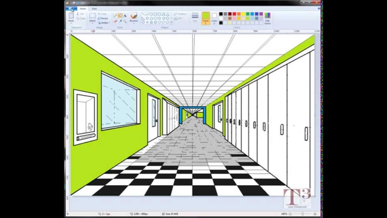 1 Point Perspective Drawing Of A Hallway Microsoft Paint