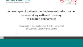 Learning from a UK experience: An example of patient oriented research