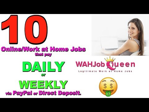 10 ONLINE WEBSITES THAT PAY DAILY OR WEEKLY - WORK AT HOME JOBS!