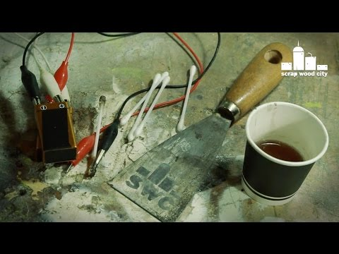 DIY electrolytic metal etching with 9V batteries