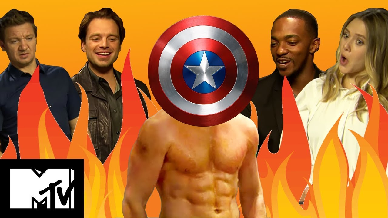 captain america civil war cast play guess the marvel abs | mtv