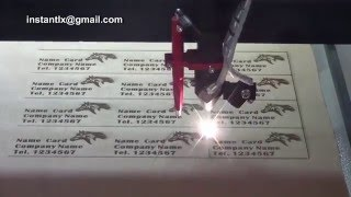 1390 80w laser engraves and cuts name cards, China laser cutting and engraving machine,