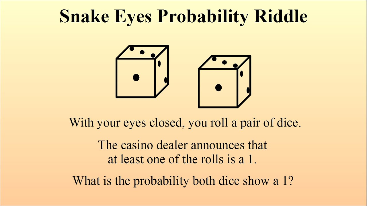 Line Drawing Riddles : Counter intuitive probability the snake eyes riddle youtube