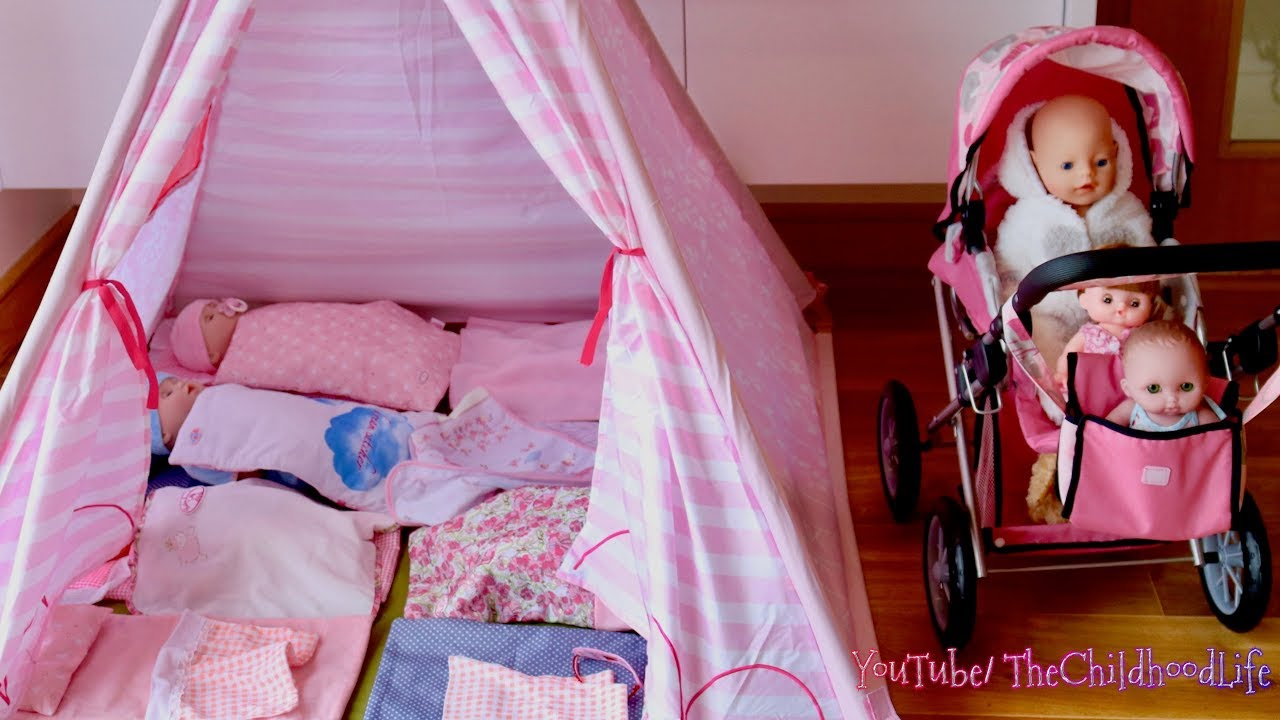 competitive price 66164 4bd10 Baby Dolls Teepee Tent Bedroom Nursery Center & Dolls Pram Baby Annabell  Baby Born Nursery Rhymes