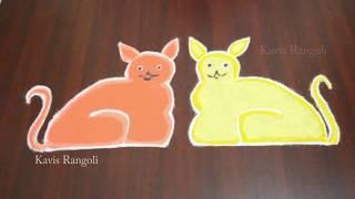 Simple Cat Rangoli with Dots | Easy Pulli Kolam Designs