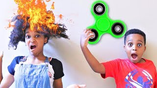 Fidget Spinner Makes Shasha's HAIR LIT!!! - Shiloh and Shasha - Onyx Kids