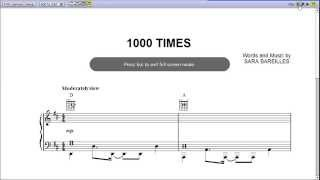 1000 Times by Sara Bareilles - Piano Sheet Music :Teaser