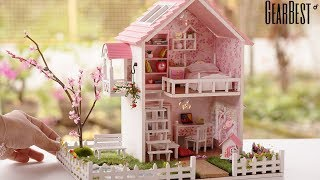 DIY Miniature Cherry Blossoms Dollhouse with Pool - Spring Romance