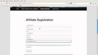 Affiliates - Example of affiliate signing up