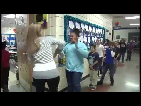 American Female Teacher Unique Style Of Welcome to Students in Classroom