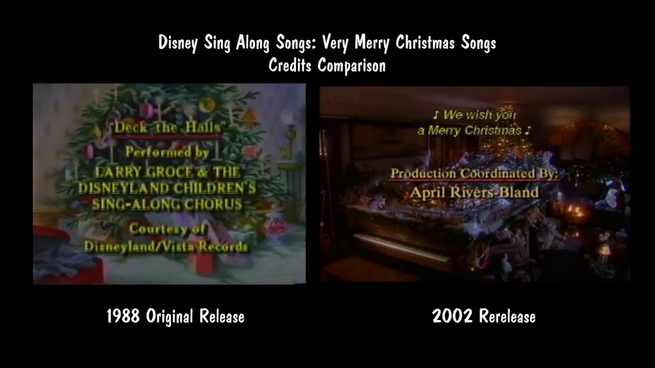 Disney Sing Along Songs Very Merry Christmas Songs 2002.Disney Sing Along Songs Very Merry Christmas Songs Credits Comparison
