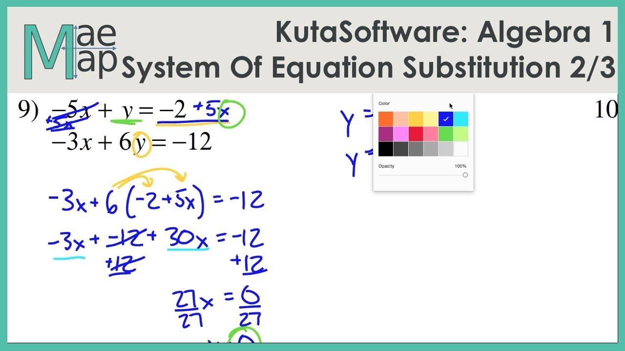 Kutasoftware Algebra 1 System Of Equations Substitution Part 2