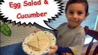 Easy Toddler Recipe - How To Make Crustless Egg Salad & Cucumber Tea Sandwiches - Kid Tested