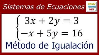 SISTEMA DE ECUACIONES LINEALES 2×2 POR MÉTODO DE IGUALACIÓN