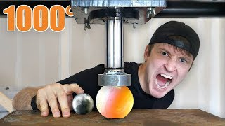 1000 DEGREE METAL BALL vs HYDRAULIC PRESS!! You Won't Believe What Happened...