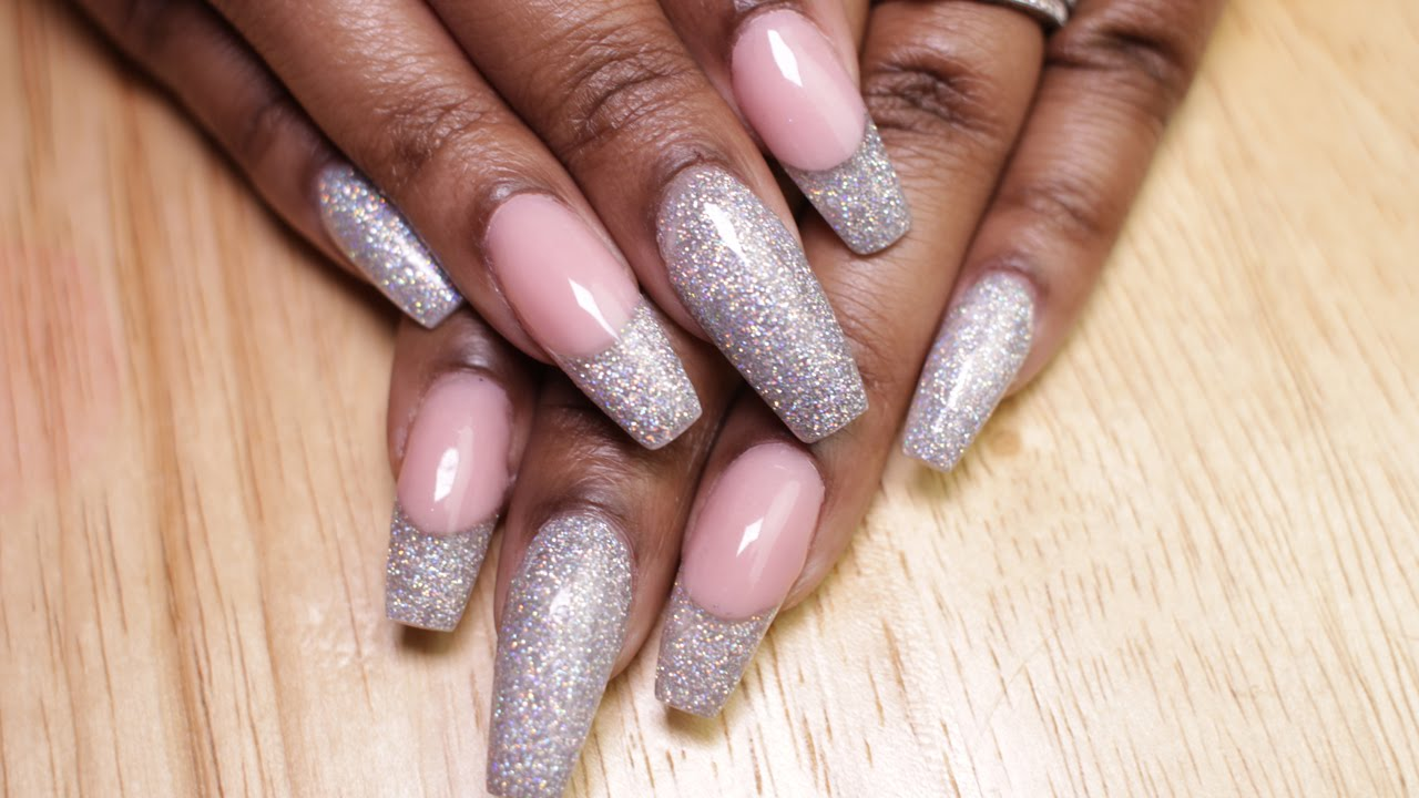 How to: Glitter Coffin Nails | LongHairPrettyNails Rainbow Sparkle ...