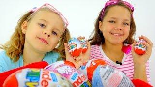 КИНДЕР СЮРПРИЗ: Миньоны, Хелло Китти и другие игрушки. Surprise  Eggs - Распаковка. Видео для детей(Как же скучали лучшие подружки Настя и Ксюша... Как же они хотели отведать КИНДЕР СЮПРИЗ (Surprise Eggs ). И даже..., 2015-10-08T04:55:38.000Z)