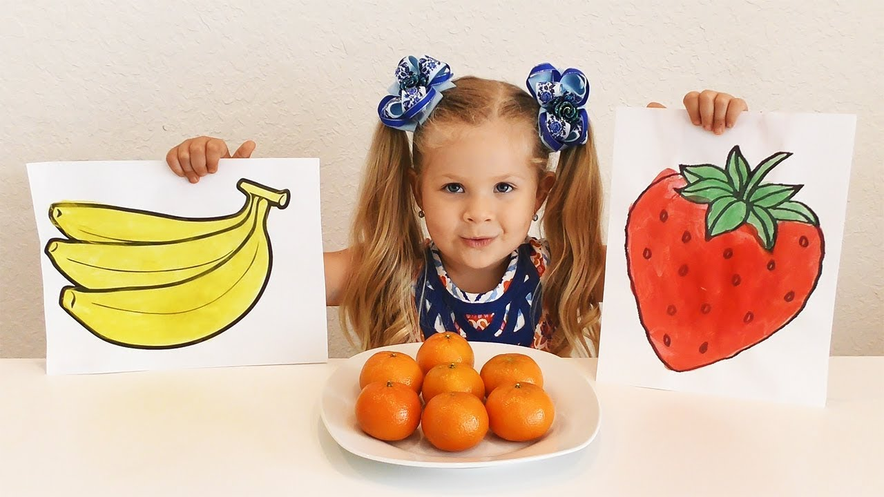 Diana Draws And To Name Fruit Educational Video For Kids