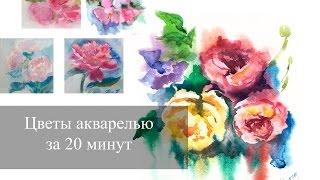 Цветы акварелью за 20 минут по-сырому | Видео урок | Как быстро рисовать цветы?(Привет! В этом видео я расскажу как за 20 минут можно нарисовать красивый этюд цветов акварелью! Для урока..., 2016-01-17T12:11:08.000Z)