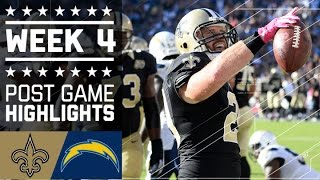 Saints vs. Chargers | NFL Week 4 Game Highlights