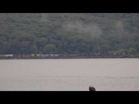 NBD CSX Mixed Freight @  Tompkins Cove seen from Charles Point across Hudson River 8/7/2017
