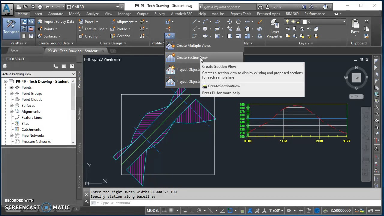 Creating Cross Section Views in Civil 3D