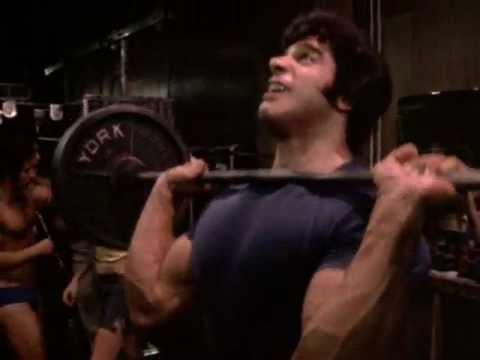 Lou Ferrigno shoulder press  pumping iron segment