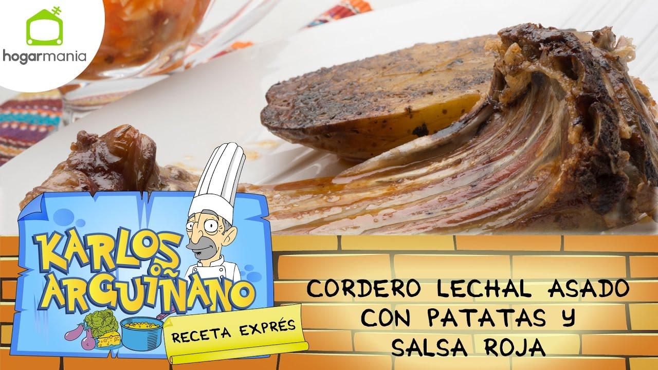 Karlos Arguiñano: Receta de Cordero lechal asado con patatas y salsa ...