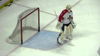 Luongo and Montoya during pre-game warm-up at the Panthers @ Senators hockey game