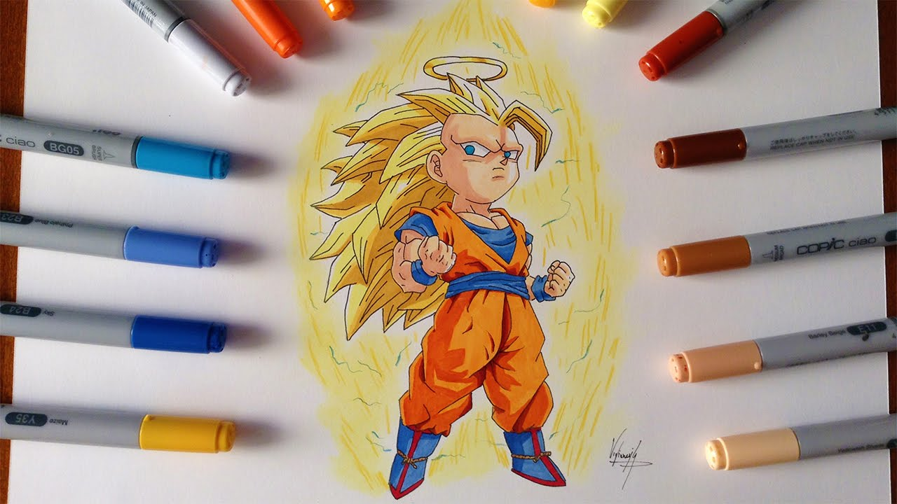 Disegno - Drawing Chibi Goku SSJ3 Super Sayan 3 - YouTube Anime Chibi Dragon