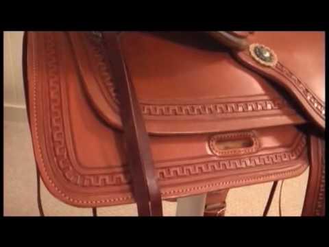 HorseSaddleShop com reviews the Alamo Flex Tree Caramel Toast Greek Border  Tooled Trail Saddle 1060