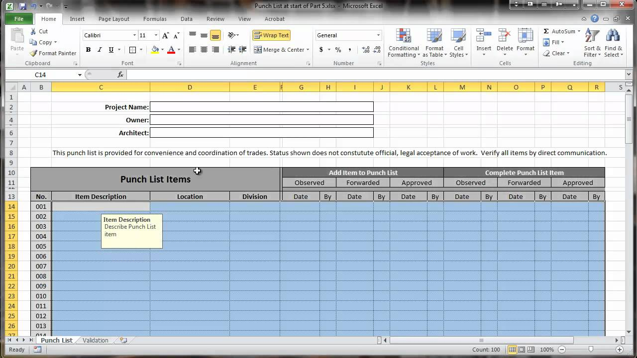 Excel 2010 construction punch list part v data for Construction punch list form