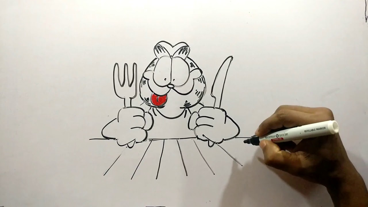 Garfield Drawing How To Draw A Cartoon Character Youtube