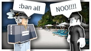 ROBLOX Trolling a Resort w/ Admin Commands (BANNING PEOPLE)