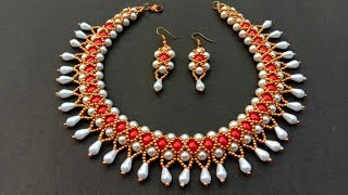 How To Make Pearl Necklace//Bridal Jewellery Set// Useful & Easy
