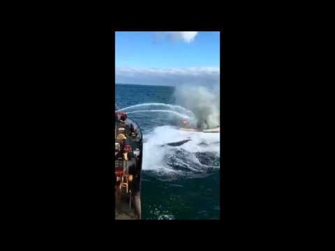 Coast Guard Cutter Willow crews extinguish fire on fishing boat