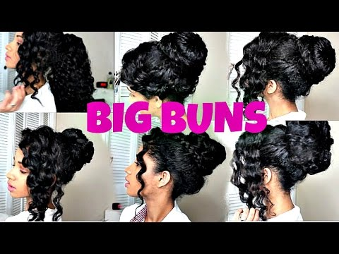 5 Big Buns For Curly Hair W A Fake Ponytail Ft Perfect Locks Youtube