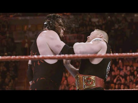 Get dangerously up-close & personal with Kane & Brock Lesnar during their brawl on Raw: Jan. 4, 2018
