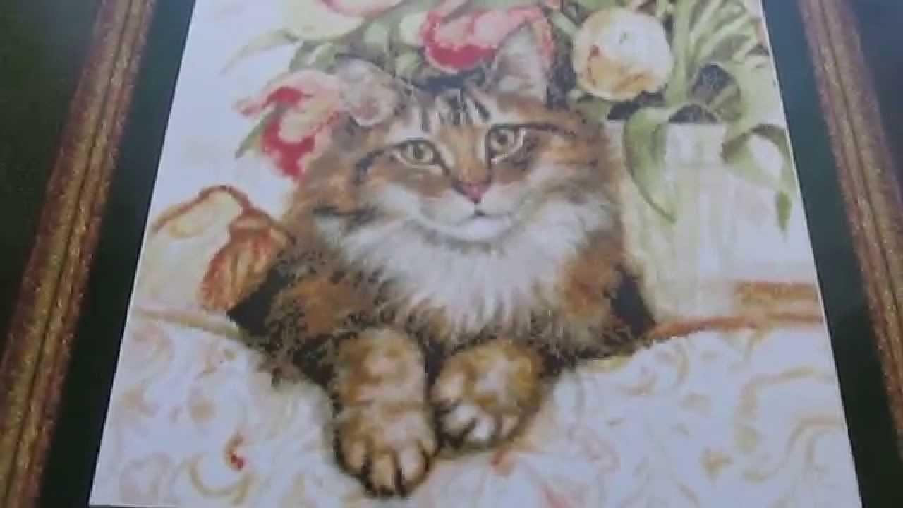 Готовая вышивка кошки