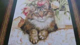 """6 Вышивка крестом: обзор набор  Kustom Krafts """"Кошка на софе"""""""