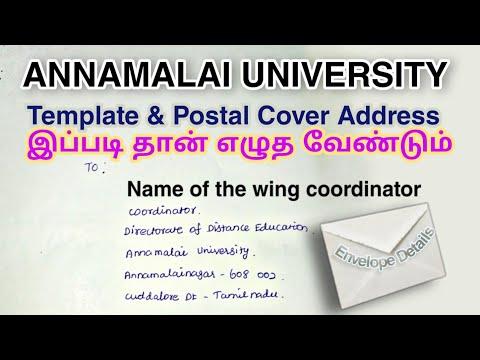 How To Write Address On Postal Cover   Annamalai University   Distance Education   Exam Updates