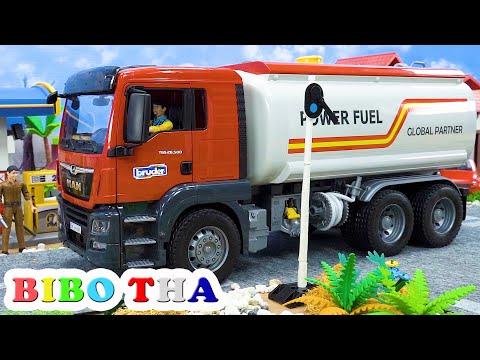 การ์ตูน ซ่อมรถยนต์ และ ปั๊มน้ำมัน รถบรรทุกถัง