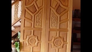Kerala Style Wood Work Front Door Designs 2