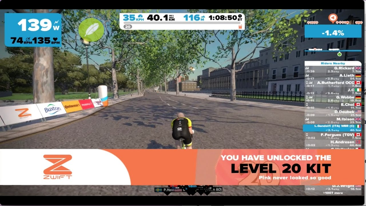 Luca ride on to Level 20 of Zwift - jersey kit and Trek Madone - 24 2 2017