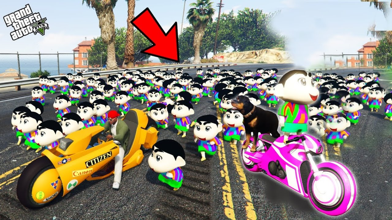 GTA 5 : Franklin And Pinchan Escape From 1000 Shinchan In GTA 5 ! (GTA 5 mods)