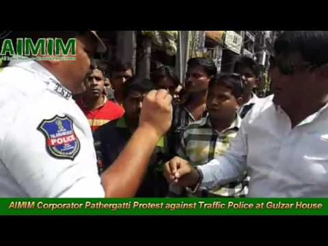 AIMIM Corporator Syed Sohail Quadri Warning Traffic Police against Harrasment at Gulzar House