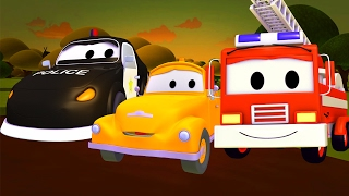 The Car Patrol: fire truck and police car in Baby Tom is in trouble in Car City 🚓 | Trucks cartoon