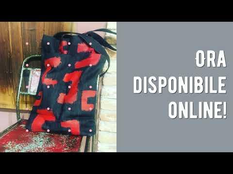 """""""Miki"""" Handpainting and handmade tote denim bag """"MIki"""""""