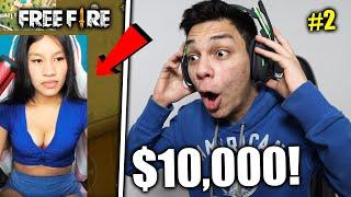 ¡DONANDO DINERO a STREAMERS MUJERES que JUEGAN FREE FIRE! #2 $10,000 *me rechazan en directo*