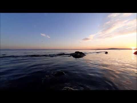 MUHTEŞEM GÜZELLİKTE SAHİL, DENİZ DALGA SU, KUŞ SESİ Gün Batımı Doğa Manzaraları Fon Müzik Meditasyon